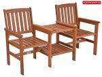 HECHT Teebench kerti bútor szett Két szék és egy asztal praktikus kombinációja 2 db fa szék és 1 db fa dohányzó asztal