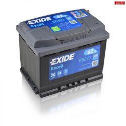 EXIDE Excell Akkumulátor 12V 62Ah 540A Jobb+ EB620