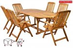 Hecht LEADER SET Kerti bútor fa asztal és 6 db egymásba csúsztatható székkel