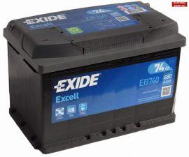 EXIDE Excell Akkumulátor 12V 74Ah 680A Jobb+ EB740