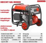 HECHT GG8000 GG 8000 benzinmotoros áramfejlesztő három és 1 fázisú