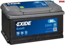 Exide Excell EB802 12V 80Ah Jobb+ akkumulátor 700A